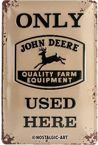 Plaque métal John Deere only Used 20x30