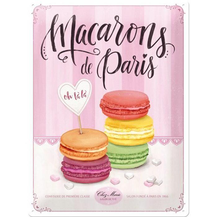 Plaque métal Macarons de Paris 30x40