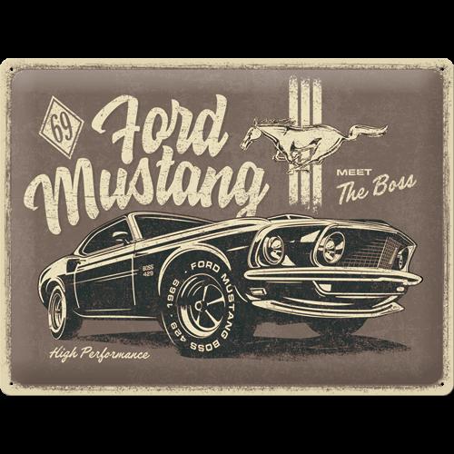 Plaque métal Ford Mustang Boss 40x30