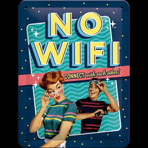 Plaque métal No Wifi rétro 15x20
