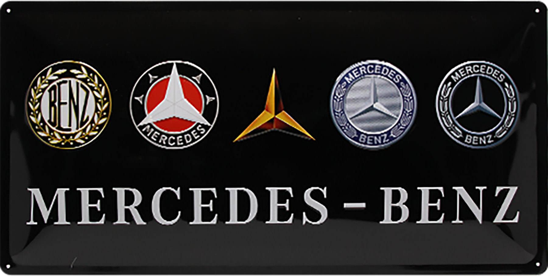 Plaque métal Mercedes logos 50x25