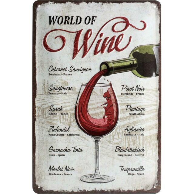 Plaque métal world of wine 20 x 30