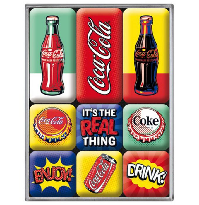 Lot de 9 magnets Coca-cola rétro