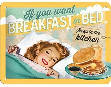 Plaque vintage Breakfast 20x15
