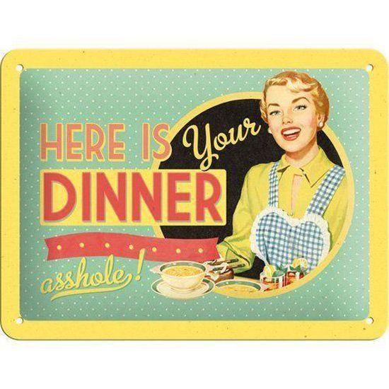 Plaque vintage dinner 20x15