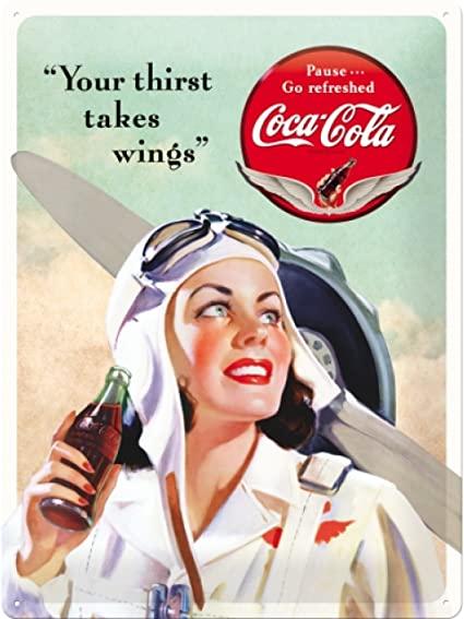 Plaque Coca-cola pin-up 30 x 40