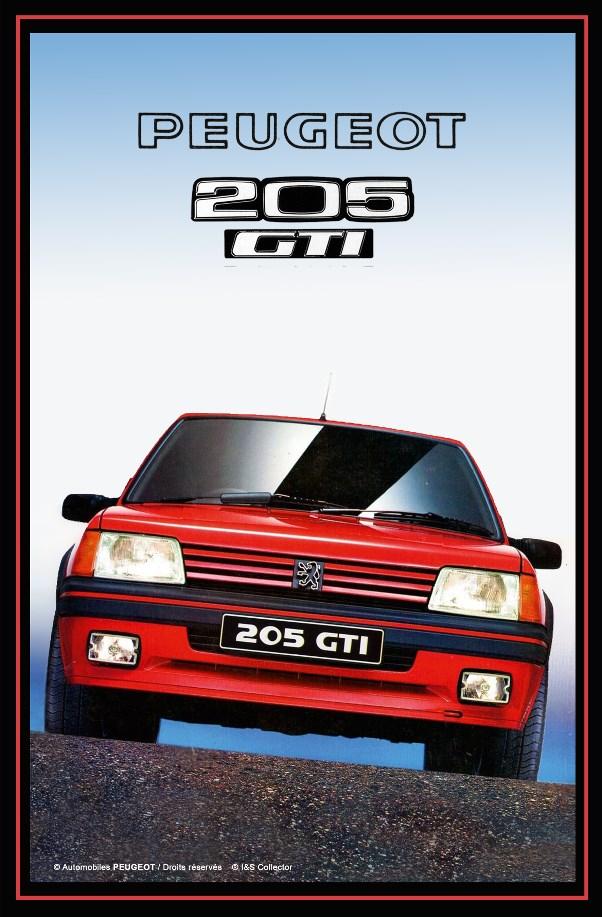 Plaque relief Peugeot 205 gti 20x30