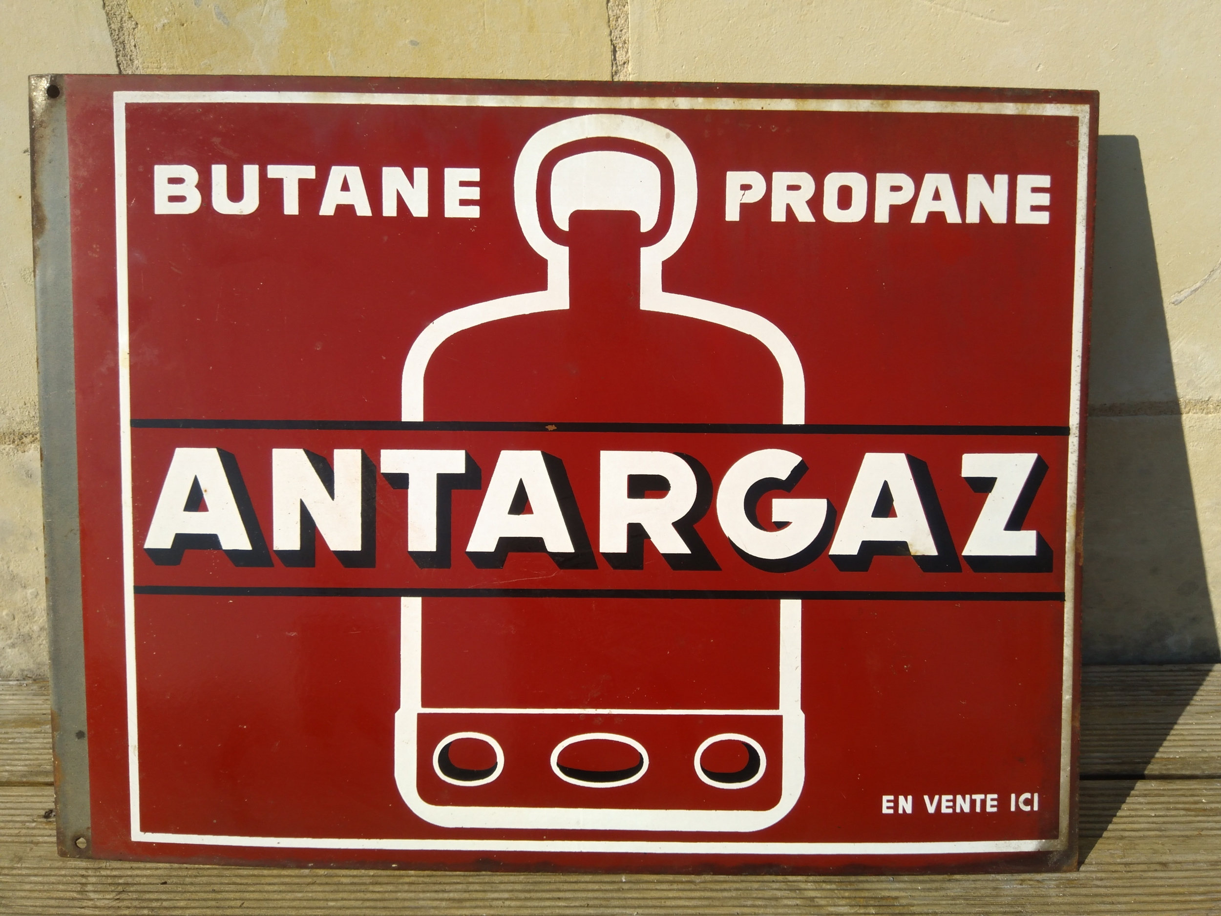 Plaque publicitaire émaillée Antargaz