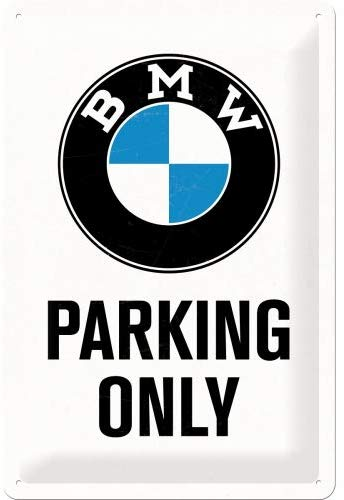 Plaque BMW parking only 20x30