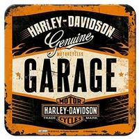 Lot de 5 dessous de verre Harley garage
