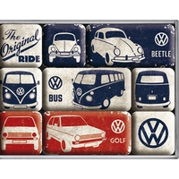 Lot de 9 magnets vw combi / bettle / golf