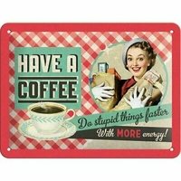 Plaque métal vintage coffee 20 x 15