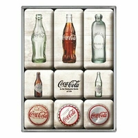 Lot de 9 magnets Coca-cola