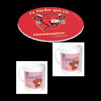 Lot dessous de plat + 2 mugs La vache qui rit