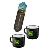 Lot John Deere thermomètre + 2 mugs