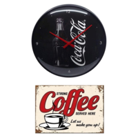 Lot Horloge Coca-cola + plaque vintage