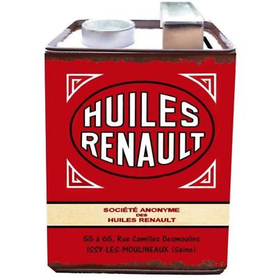 BIDON TIRELIRE METAL HUILES RENAULT Fond rouge