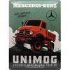 Plaque métal Mercedes Unimog vintage 30 x 40