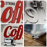 plaque métal strong coffe rétro vintage diner