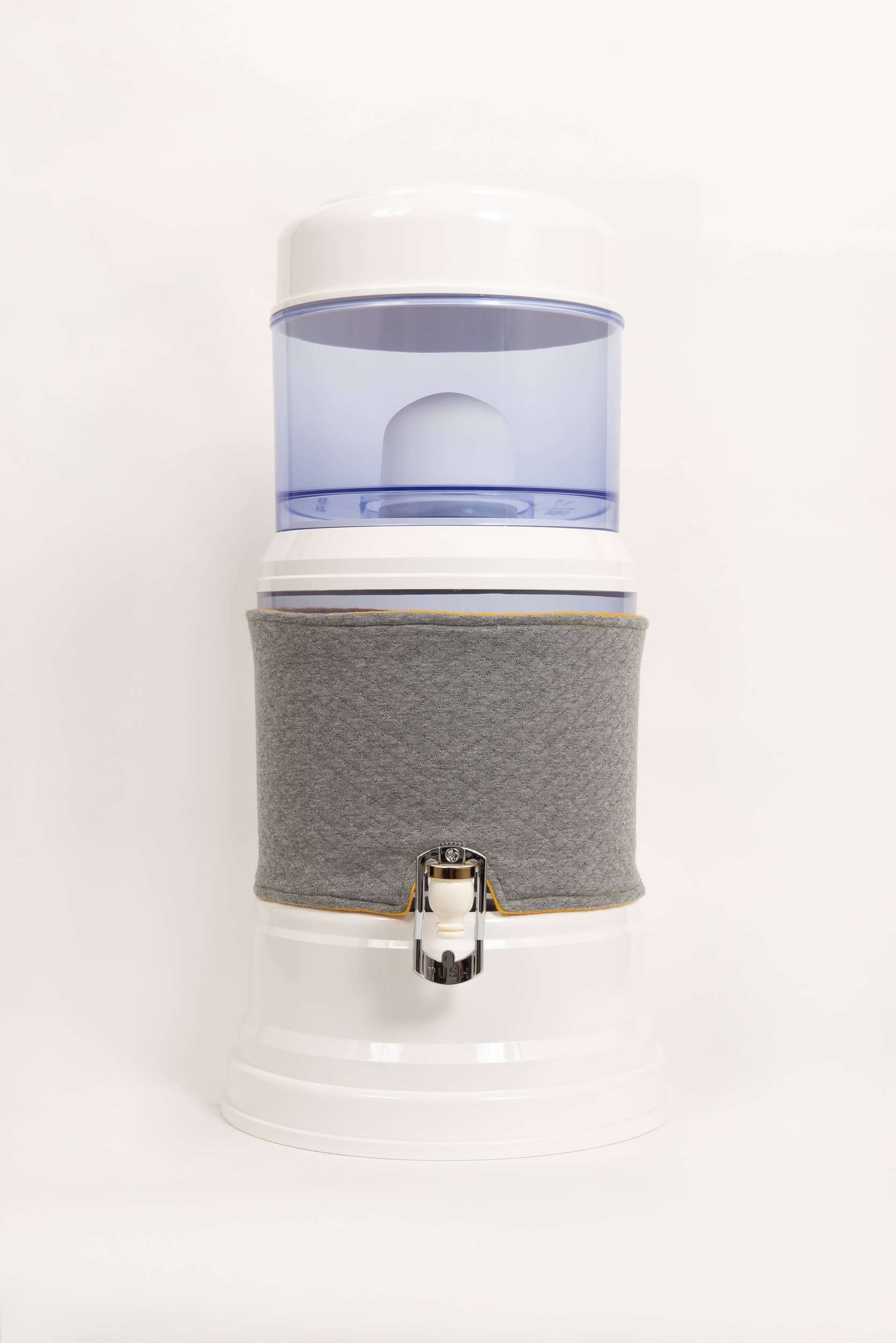Housse réversible pour fontaine en verre de 7 litres gris clair/ jaune