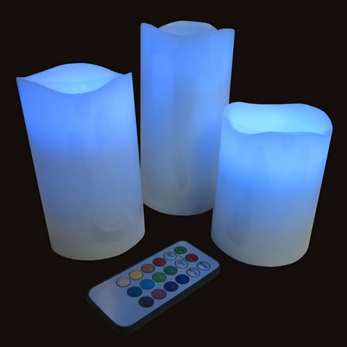 bougies led cire rvb et t l commande deco lumineuse. Black Bedroom Furniture Sets. Home Design Ideas