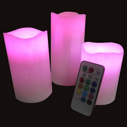 set de 3 bougies led cire t l commande deco lumineuse. Black Bedroom Furniture Sets. Home Design Ideas