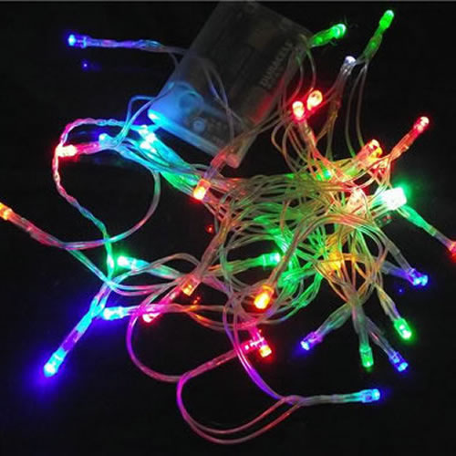 Guirlande lumineuse 20 leds rvb piles deco lumineuse for Led a pile pour deco