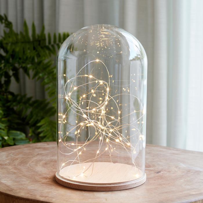 guirlande lumineuse led 50 micro led et grande cloche verre vendue sur deco-lumineuse.fr