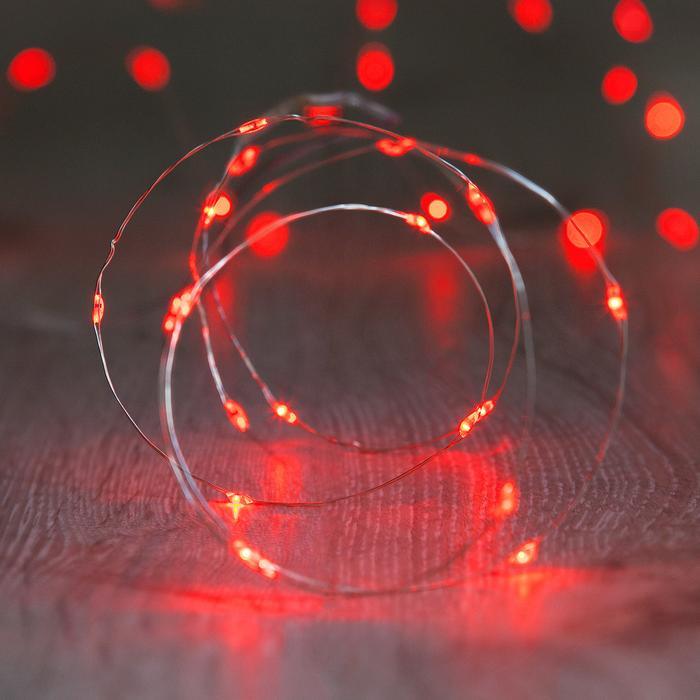 guirlande lumineuse led fil argent 20 micro led rouge vendue sur deco-lumineuse.fr