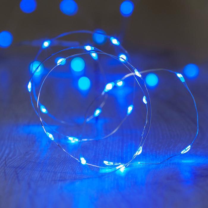 guirlande lumineuse led fil argent 20 micro led bleu vendue sur deco-lumineuse.fr