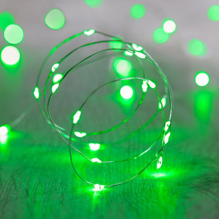 guirlande lumineuse led fil argent 20 micro led verte vendue sur deco-lumineuse.fr