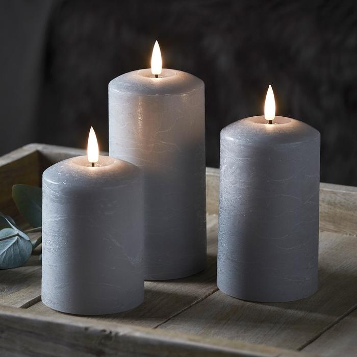 bougie led electrique cire piliers grises vendues sur deco-lumineuse.fr