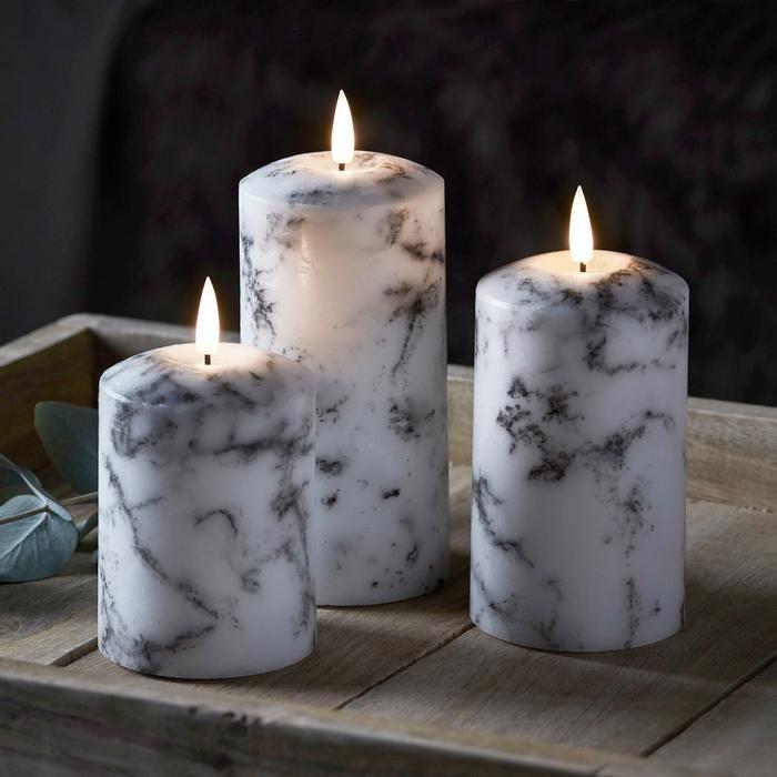 bougie led cire piliers cire marbre vendues sur deco-lumineuse.fr