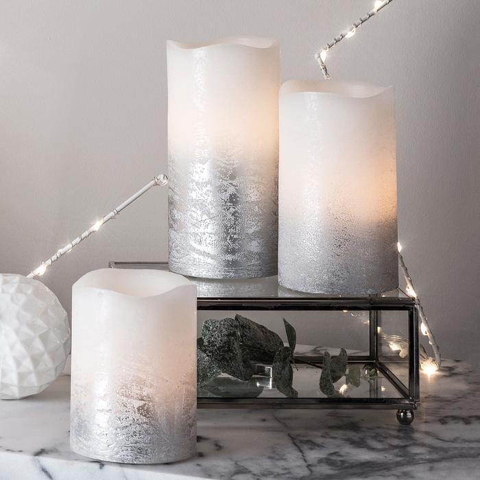 bougie led electrique cire piliers grises patine vendues sur deco-lumineuse.fr