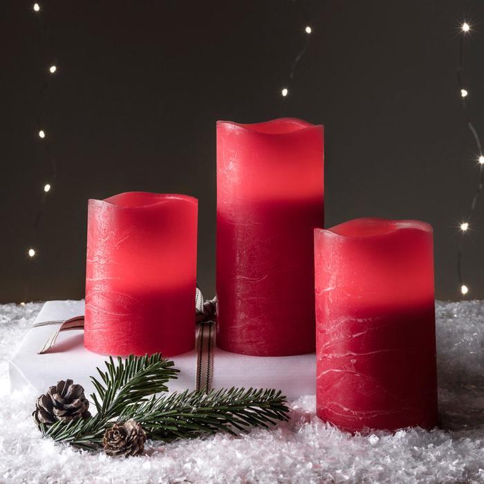3 bougies led electrique cire piliers rouges wave vendues sur deco-lumineuse.fr