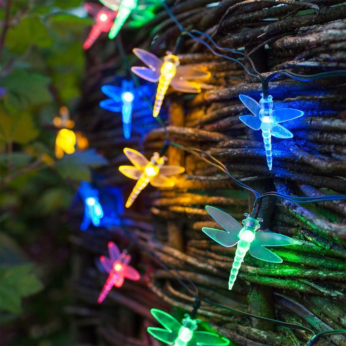 guirlande led solaire 20 libellules multicouleurs vendue sur deco-lumineuse.fr