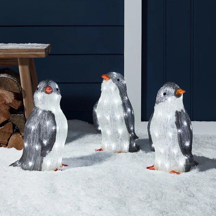 pingouins lumineux led exterieur deco noël vendus sur deco-lumineuse.fr