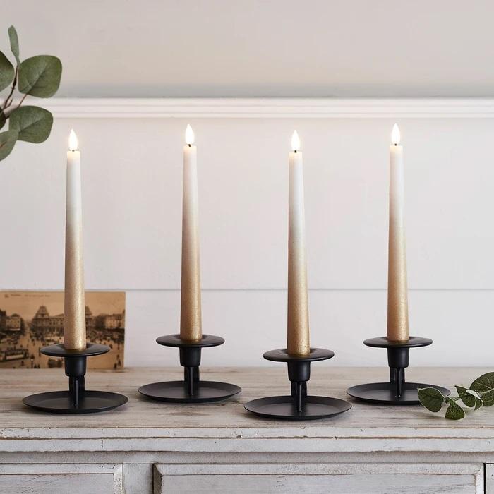 set de 4 bougies led chandelle ombrees bronze cire veritable et telecommande vendu sur deco-lumineuse.fr