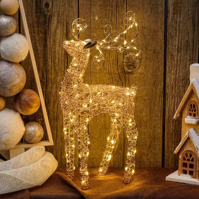 renne lumineux led de noël 47 cm cuivre 100 leds interieur vendu sur deco-lumineuse.fr