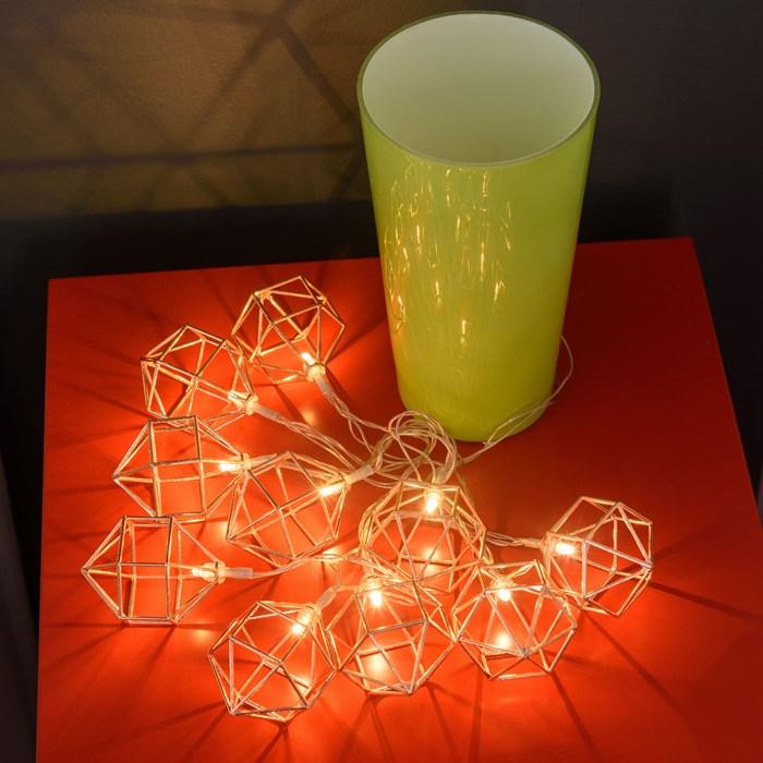 guirlandes lumineuses led cuivre 10 diamants led blanc chaud vendue sur deco-lumineuse.fr