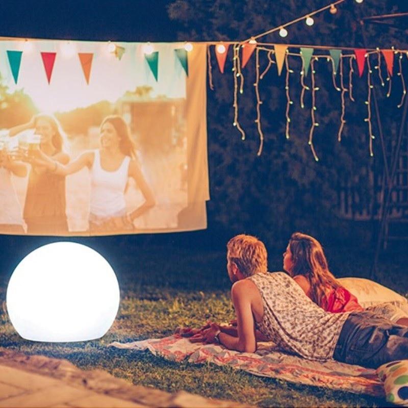 boule lumineuse led extérieur sans fil solaire multicolore bubble 80 vendue sur deco-lumineuse.fr