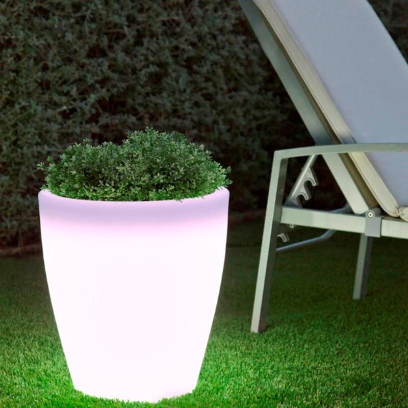 pot lumineux led sans fil solaire extérieur conique 40 vendu sur deco-lumineuse.fr