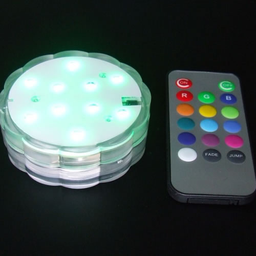 Base lumineuse led submersible rvb deco lumineuse for Centre de table lumineux