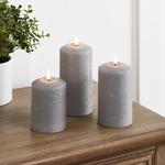bougies led electrique cire piliers grises vendues sur deco-lumineuse.fr