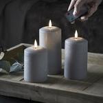 bougies leds electriques cire piliers grises vendues sur deco-lumineuse.fr