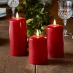 bougies led electrique cire piliers rouges vendues sur deco-lumineuse.fr