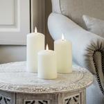 3 bougies led electrique cire piliers cire blanche vendues sur deco-lumineuse.fr