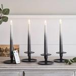 set de 4 bougies led chandelle ombrees gris fonce en cire veritable et telecommande vendu sur deco-lumineuse.fr