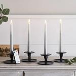 set de 4 bougies led chandelle ombre argent en cire veritable et telecommande vendu sur deco-lumineuse.fr
