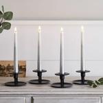 set de 4 bougies led chandelle ombrees argente en cire veritable et telecommande vendu sur deco-lumineuse.fr